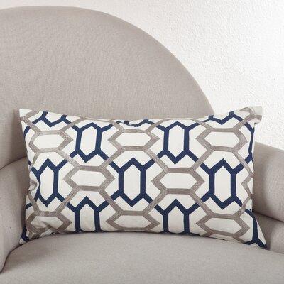 Stitched Design Cotton Lumbar Pillow Color: Navy Blue