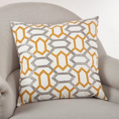 Stitched Design Cotton Throw Pillow Color: Mustard
