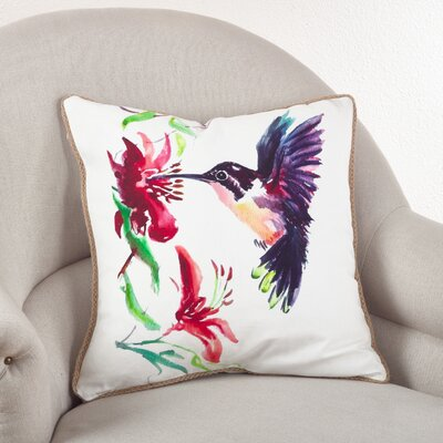 Hummingbird Cotton Throw Pillow