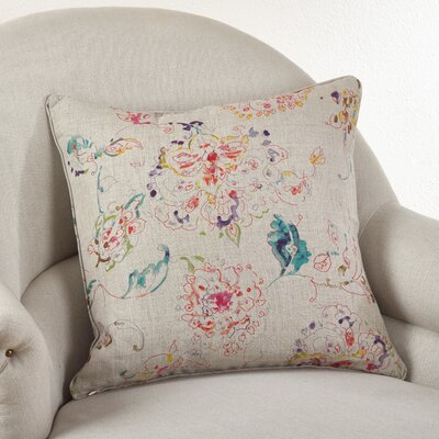 Floral Linen Throw Pillow Color: Natural