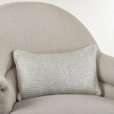 Hiran Knitted Cotton Lumbar Pillow Color: Ivory