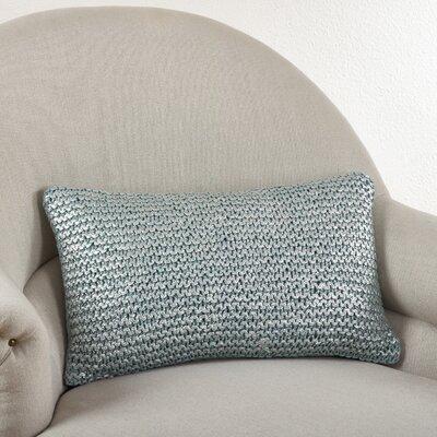 Cassandra Knitted Cotton Lumbar Pillow Color: Aqua