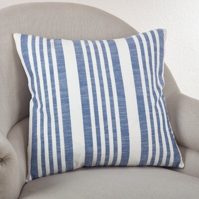 Carmel Striped Cotton Throw Pillow Color: French Blue
