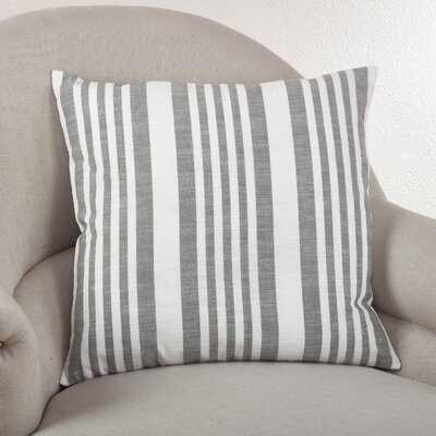 Nautical Striped Cotton Throw Pillow Color: Grey