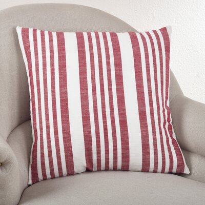 Carmel Striped Cotton Throw Pillow Color: Red
