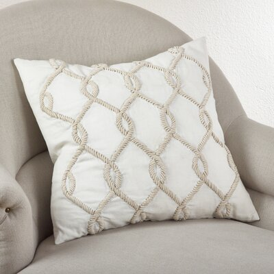 Embroidered Cord Cotton Throw Pillow Color: Ivory