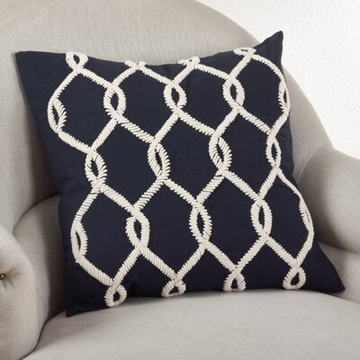 Embroidered Cord Cotton Throw Pillow Color: Navy Blue