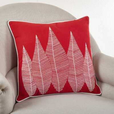 Stitched Leaf Cotton Throw Pillow Color: Coral