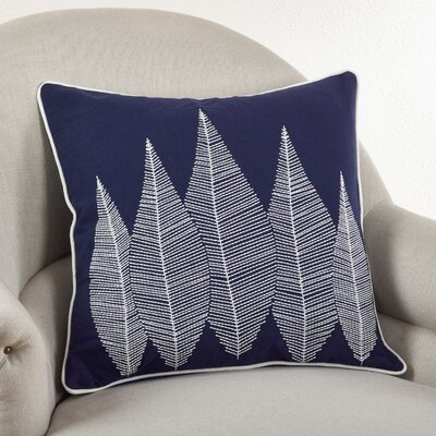 Stitched Leaf Cotton Throw Pillow Color: Navy Blue