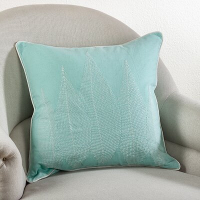 Stitched Leaf Cotton Throw Pillow Color: Seafoam Green
