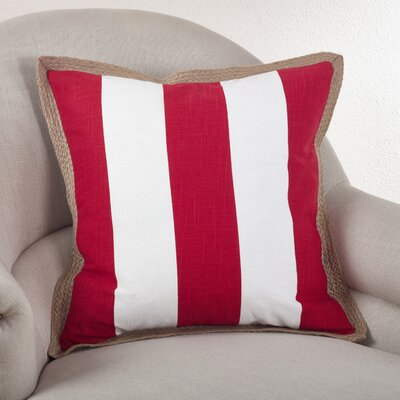 Striped Cotton Throw Pillow Color: Red