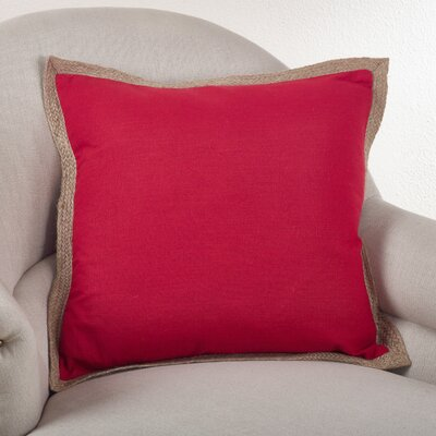 Classic Jute Trim Cotton Throw Pillow Color: Red