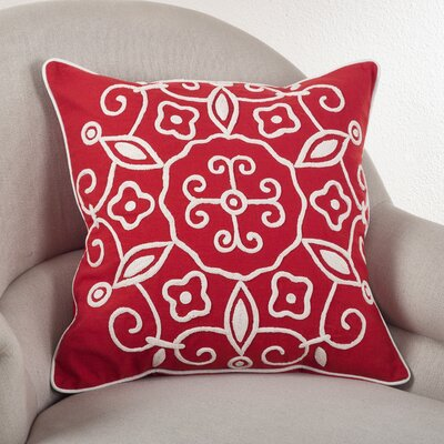 Embroidered Suzani Cotton Throw Pillow Color: Coral
