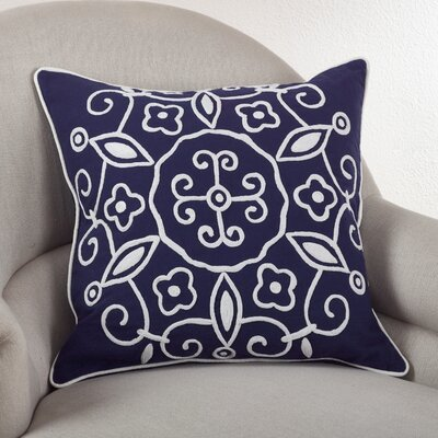 Embroidered Suzani Cotton Throw Pillow Color: Navy Blue