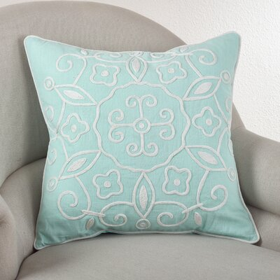 Embroidered Suzani Cotton Throw Pillow Color: Seafoam Green