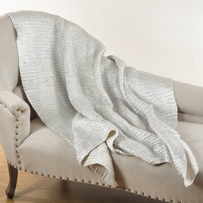 Cassandra Knitted Design Throw Blanket Color: Ivory