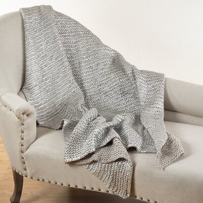 Cassandra Knitted Design Throw Blanket Color: Natural