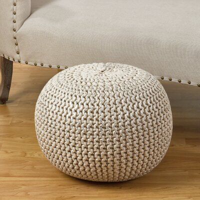 Cotton Twisted Foil Print Rope Pouf Ottoman Upholstery: Silver