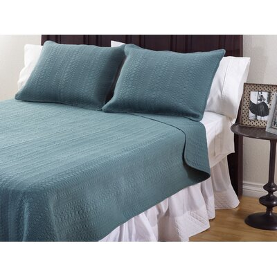 Monroe 3 Piece Quilt Set Color: Blue, Size: Queen