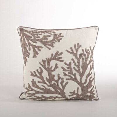 Sur La Mer Natural Coral Cotton Throw Pillow
