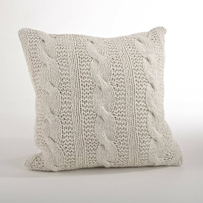 Cable Knit Cotton Throw Pillow Color: Vanilla