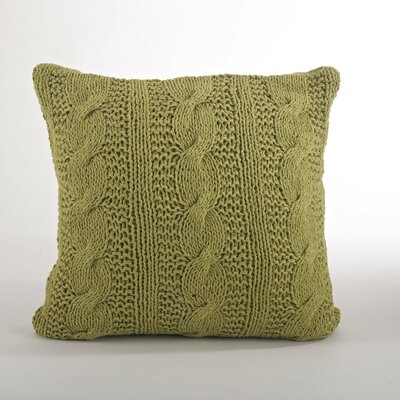 Cable Knit Cotton Throw Pillow Color: Grass