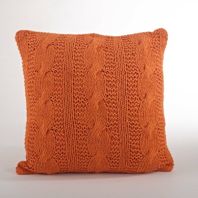 Cable Knit Cotton Throw Pillow Color: Tangerine