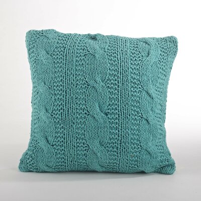 Cable Knit Cotton Throw Pillow Color: Turquoise