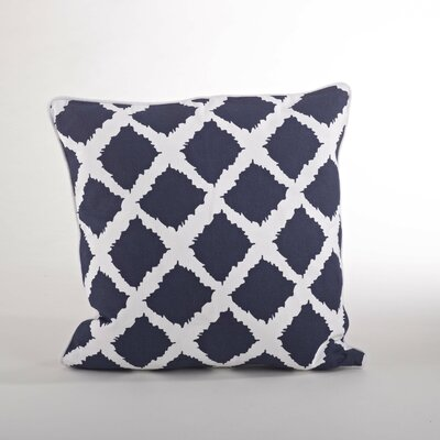 Corsica Ikat Cotton Throw Pillow Color: Navy Blue