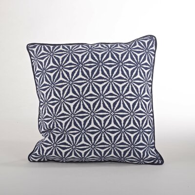 Andalusia Tile Cotton Throw Pillow Color: Navy Blue