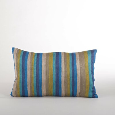 Particolored Striped Cotton Lumbar Throw Pillow Color: Ocean Blue