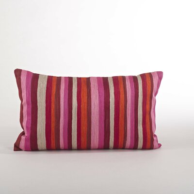 Particolored Striped Cotton Lumbar Throw Pillow Color: Sorbet
