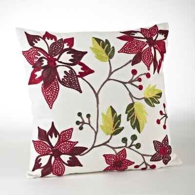 Floretine Spice Embroidered Cotton Throw Pillow