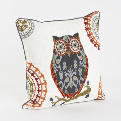 Embroidered Cotton Throw Pillow Color: Grey