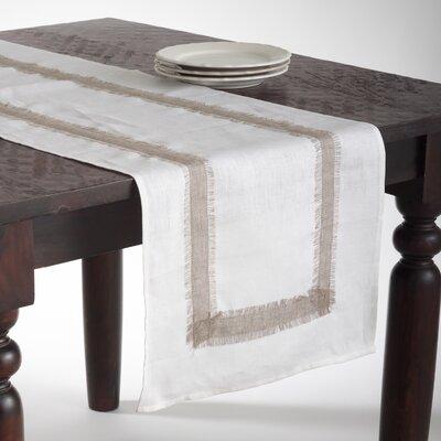 Saro Banded Border Linen Table Runner