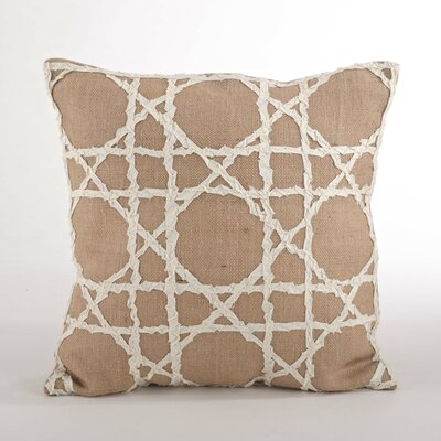 Lacey Natural Fretwork Design Jute Throw Pillow