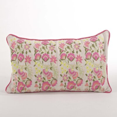 Odelette Embroidered Floral Design Lumbar Pillow