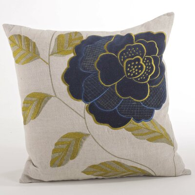 Imani Embroidered Flower Design Throw Pillow Color: Navy Blue