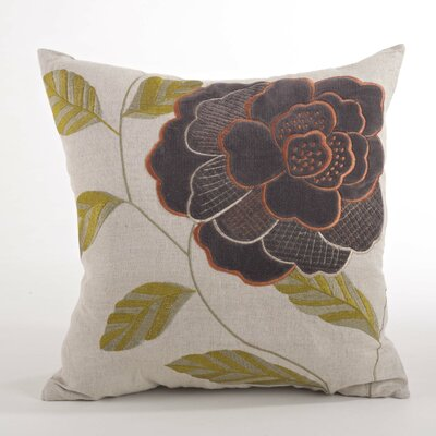 Imani Embroidered Flower Design Throw Pillow Color: Brown