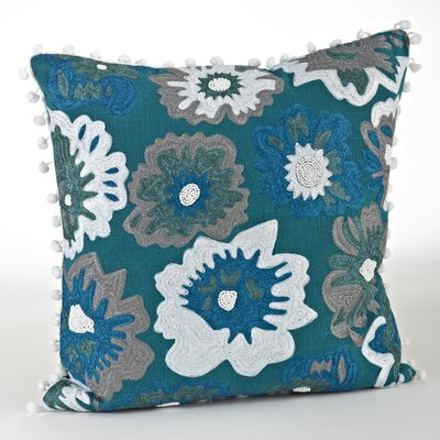 Crewel Work Design Cotton Throw Pillow