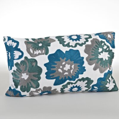 Crewel Work Cotton Lumbar Pillow