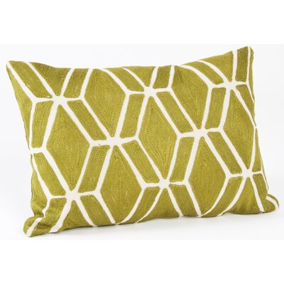 Spring Embroidered Fretwork Design Cotton Lumbar Pillow