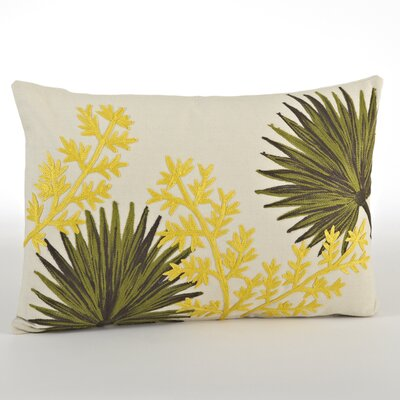 Spring Embroidered Fan Plant Design Cotton Lumbar Pillow