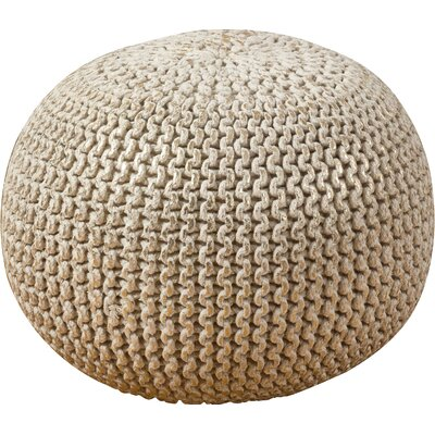 Degraff Cotton Twisted Foil Print Rope Pouf Ottoman Upholstery: Gold