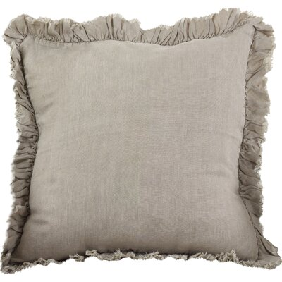 Leona Ruffled Linen Throw Pillow Color: Natural