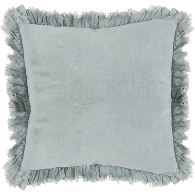 Leona Ruffled Linen Throw Pillow Color: Blue Grey