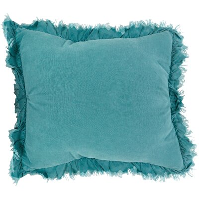 Leona Ruffled Linen Throw Pillow Color: Sea Green