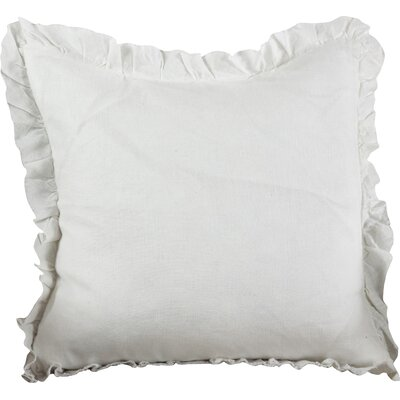Ruffled Linen Throw Pillow Color: Ivory