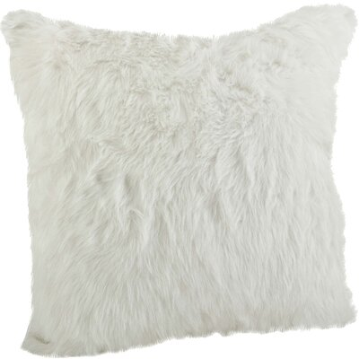 Loraine Square Faux Fur Throw Pillow Color: White