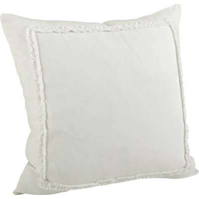 Mathilde Ruffled Cotton Throw Pillow Color: Ivory